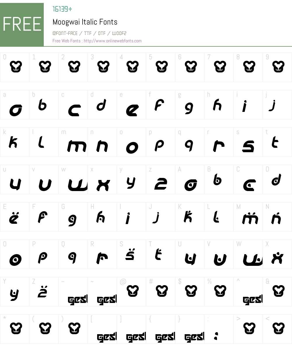 Moogwai Font Screenshots