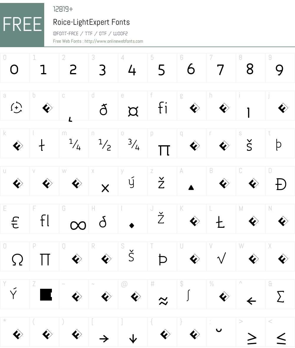 Roice-LightExpert Font Screenshots