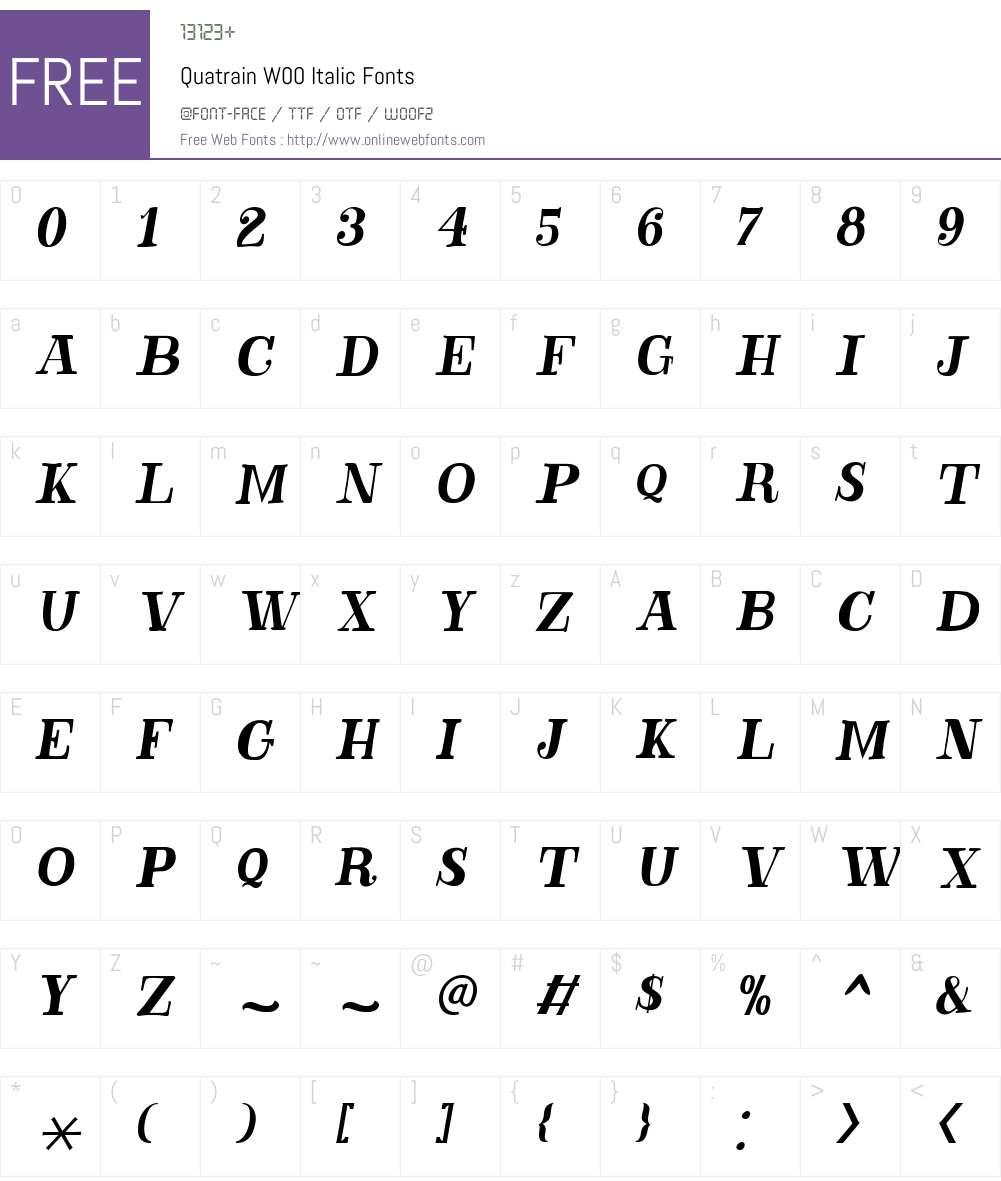 QuatrainW00-Italic Font Screenshots