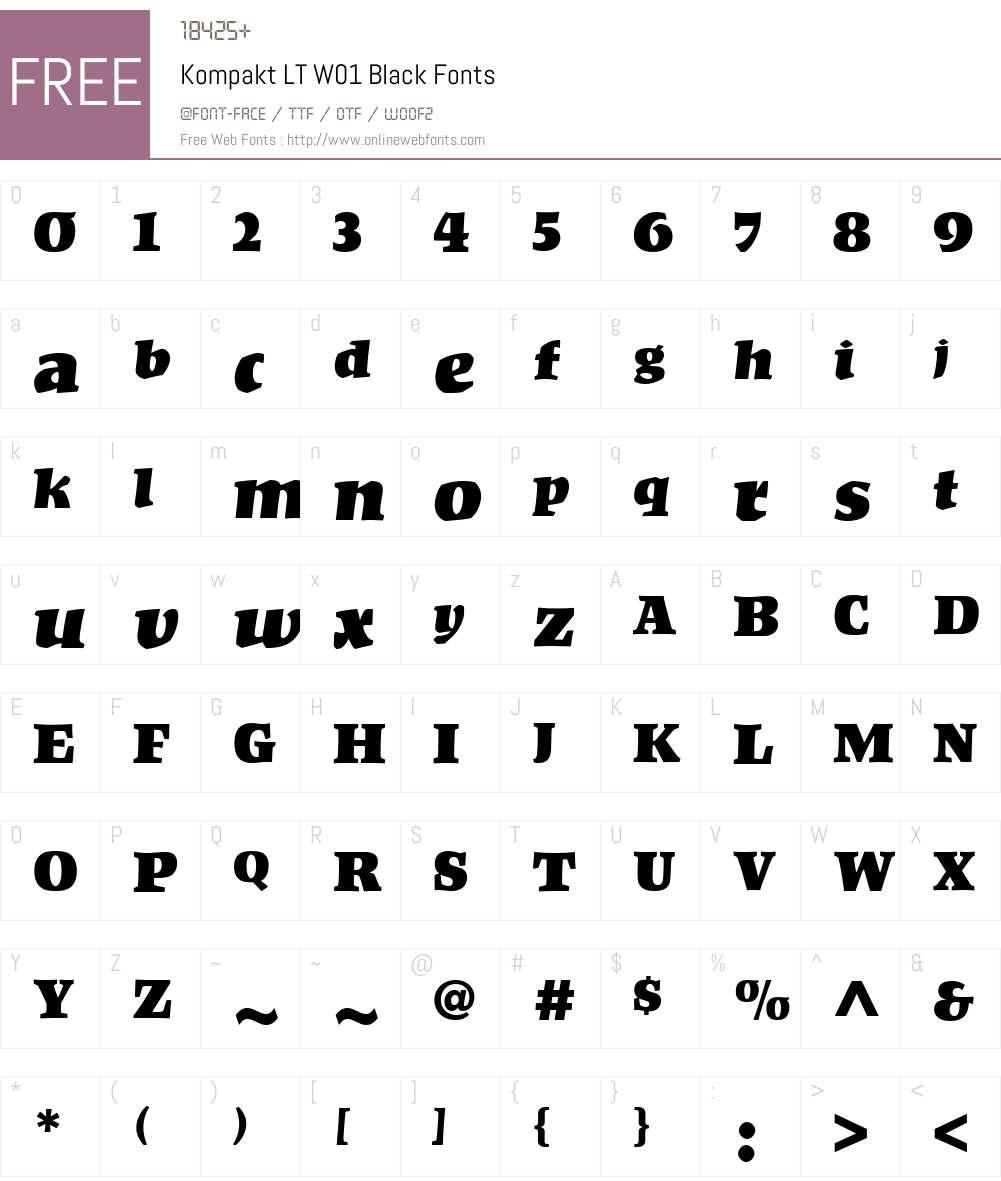 KompaktLTW01-Black Font Screenshots