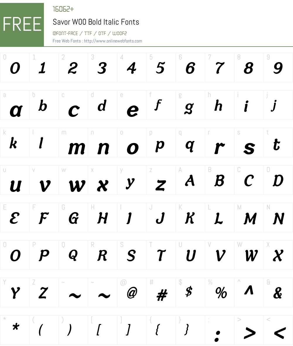 SavorW00-BoldItalic Font Screenshots