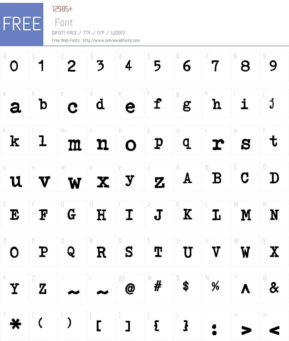 ClickClackW00-Regular Font Screenshots