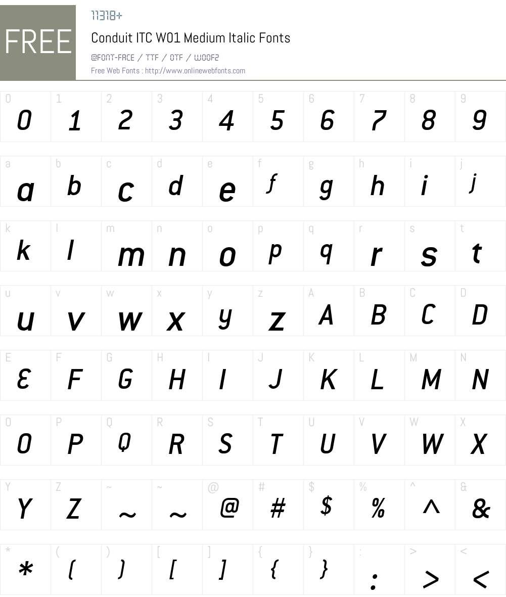 ConduitITCW01-MediumItalic Font Screenshots