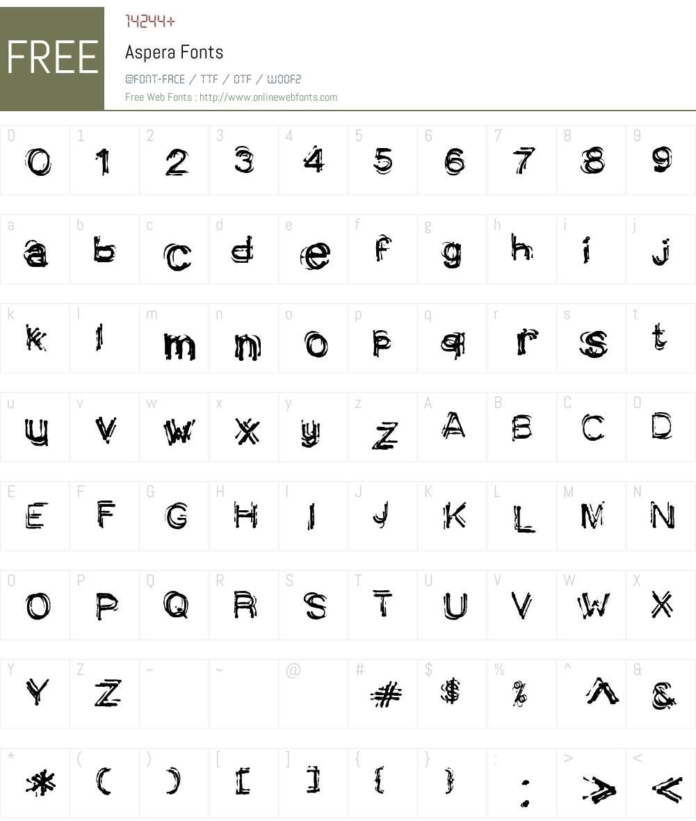 Aspera Font Screenshots