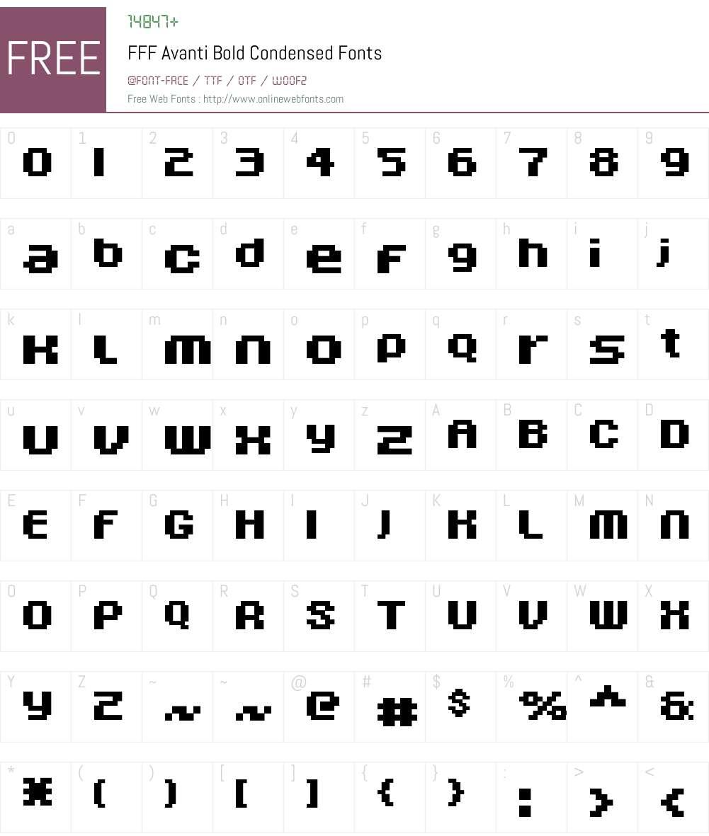 FFF Avanti Bold Condensed Font Screenshots