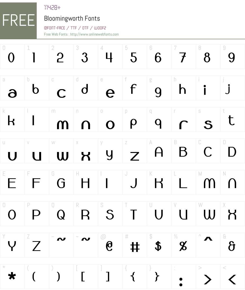 Bloomingworth Font Screenshots