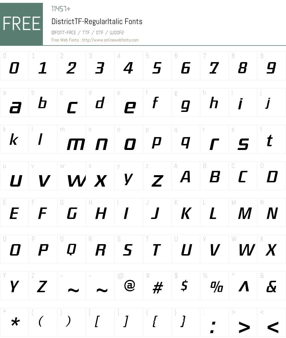 DistrictTF-RegularItalic Font Screenshots