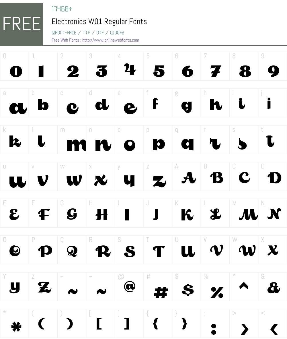 ElectronicsW01-Regular Font Screenshots