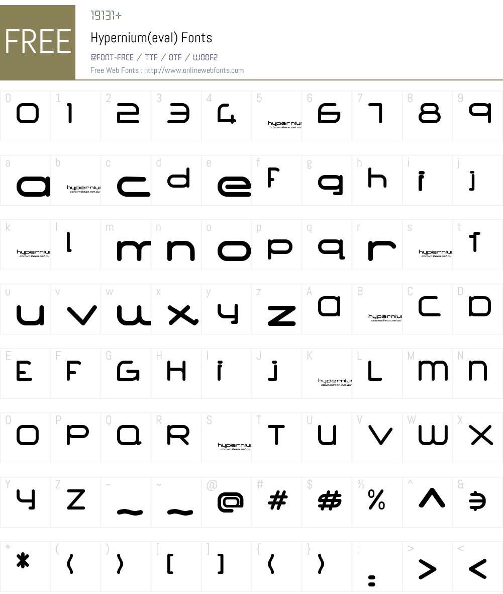 Hypernium(eval) Font Screenshots