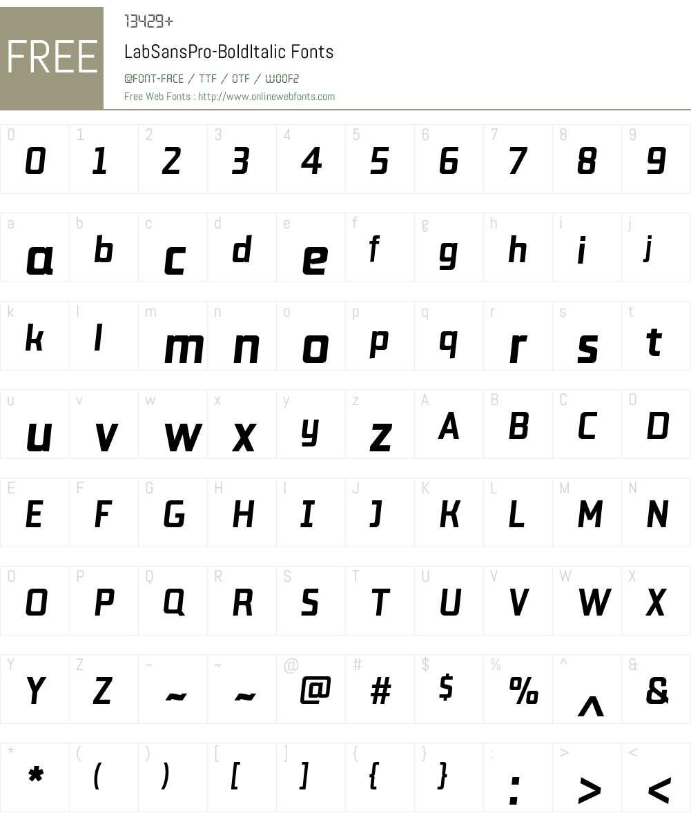 Lab Sans Pro Bold Italic Font Screenshots