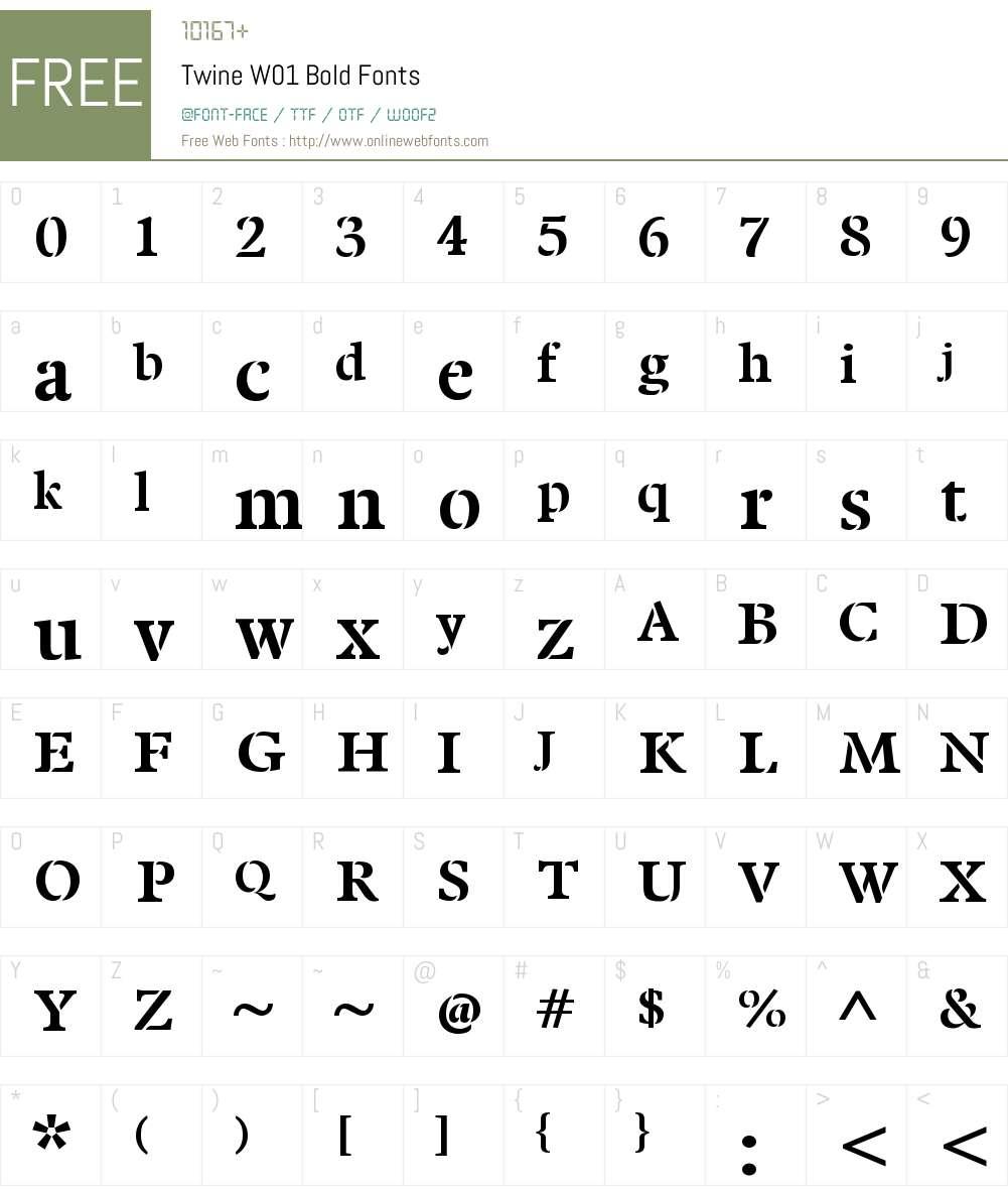 TwineW01-Bold Font Screenshots