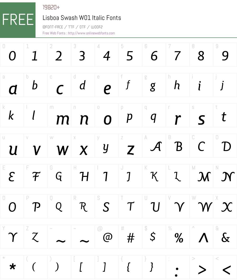 LisboaSwashW01-Italic Font Screenshots