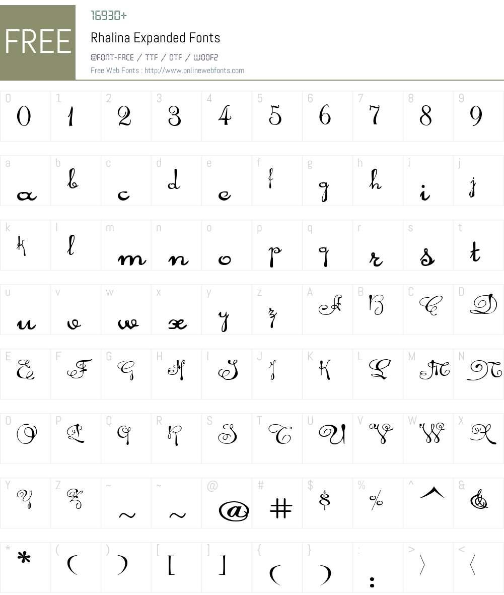 Rhalina Expanded Font Screenshots