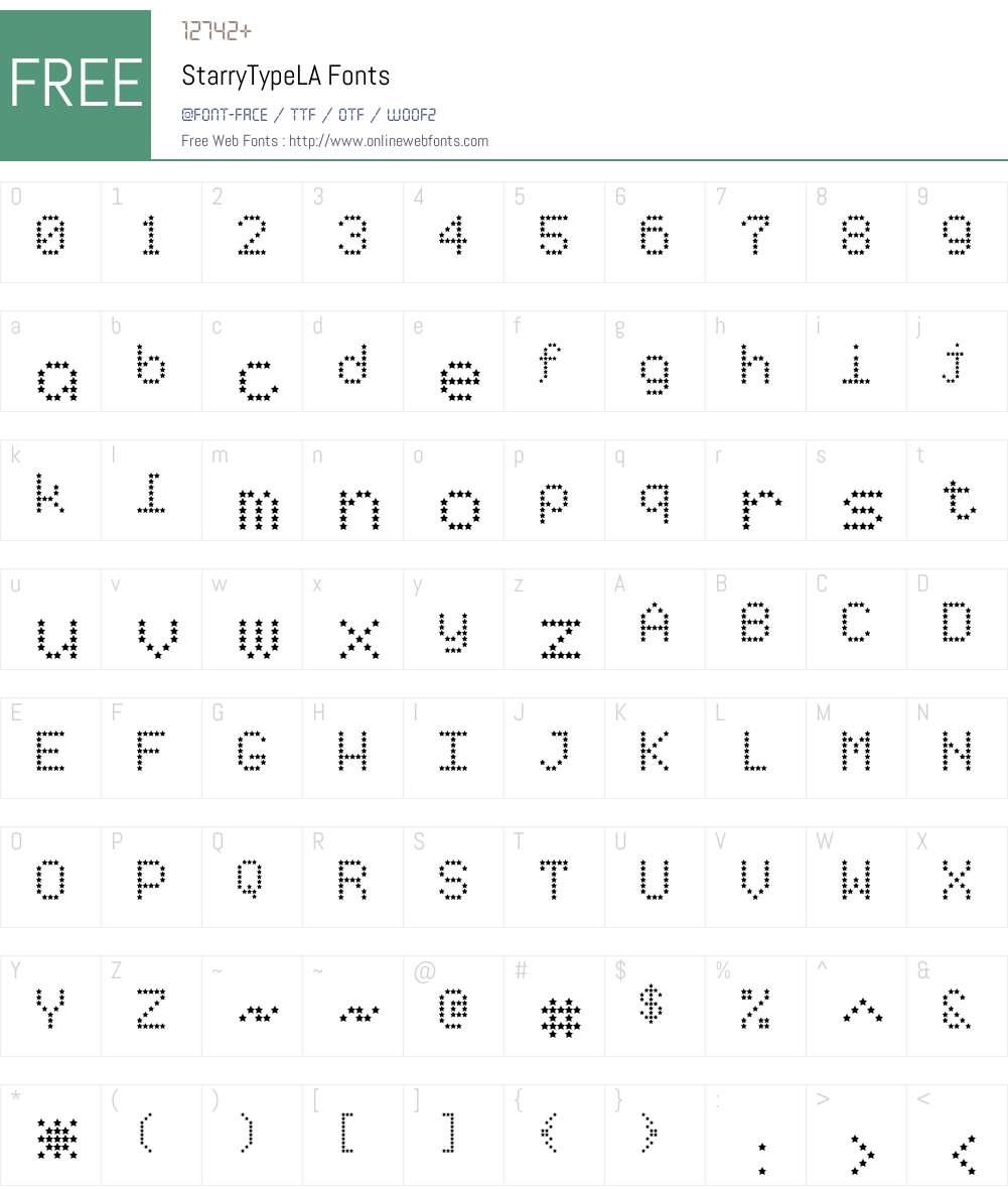StarryTypeLA Font Screenshots
