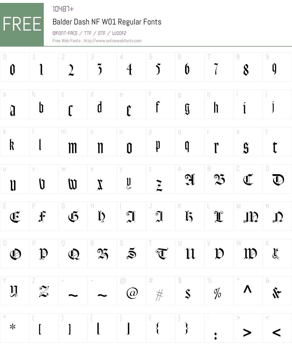 BalderDashNFW01-Regular Font Screenshots