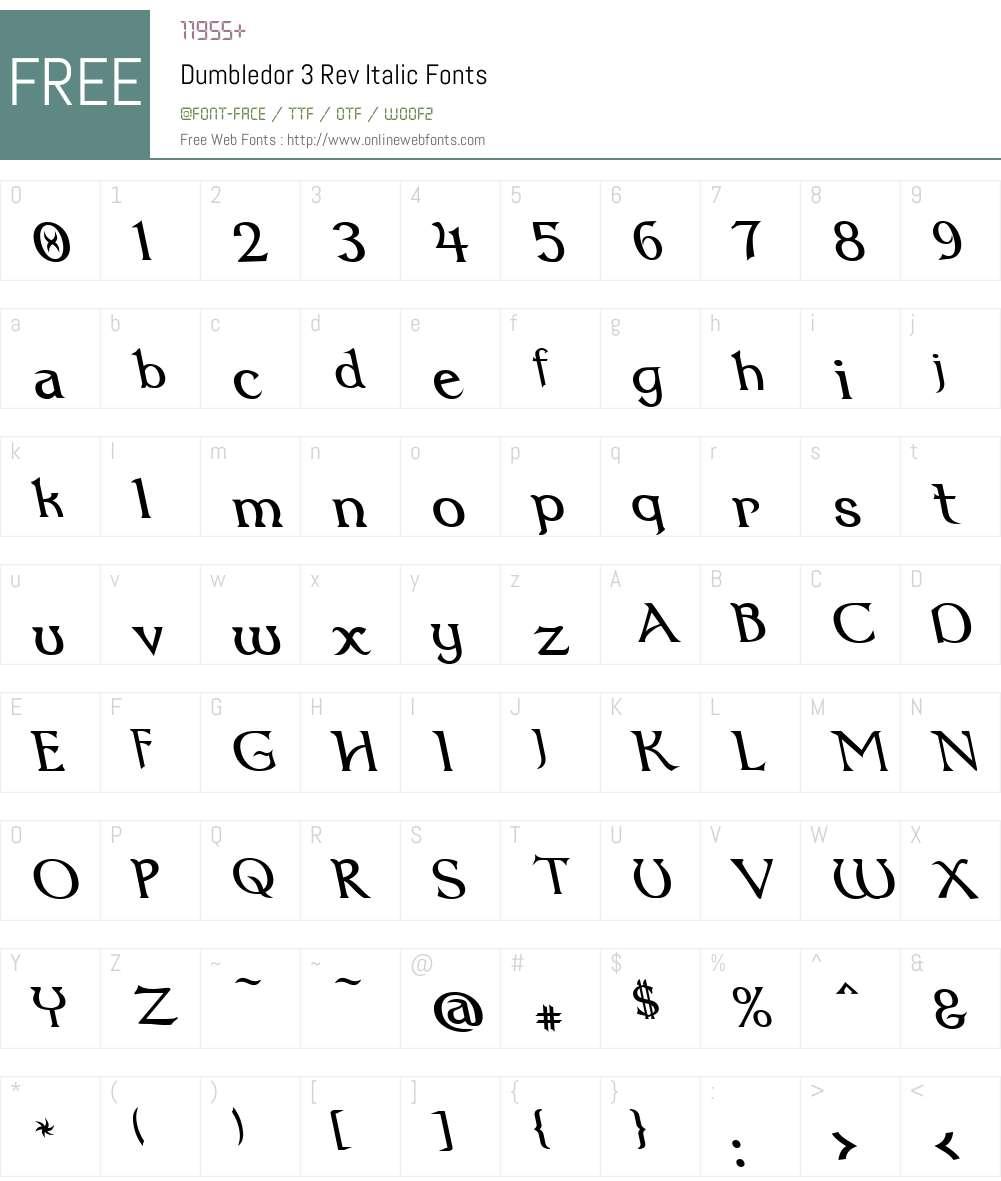 Dumbledor 3 Rev Italic Font Screenshots