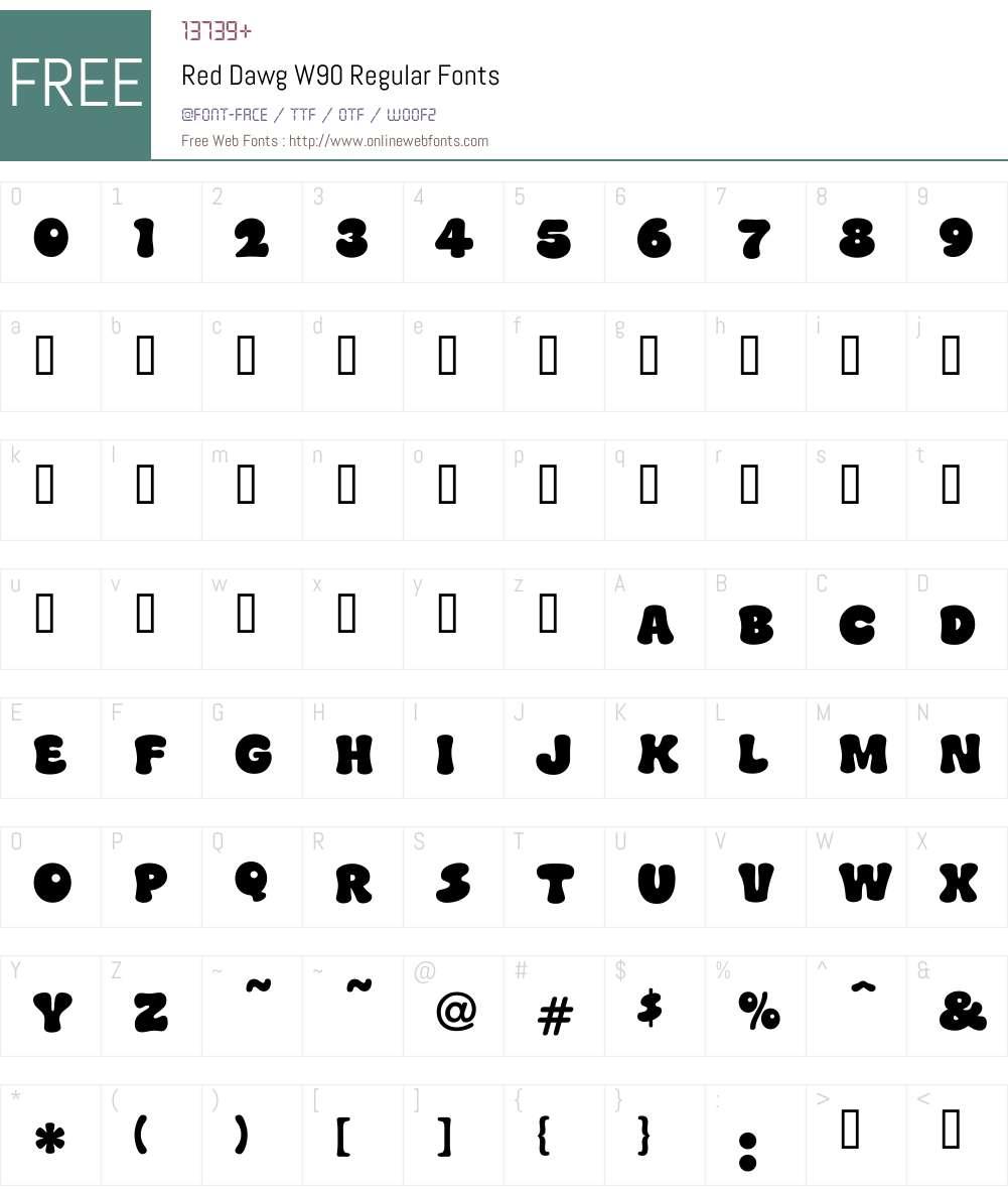 RedDawgW90-Regular Font Screenshots