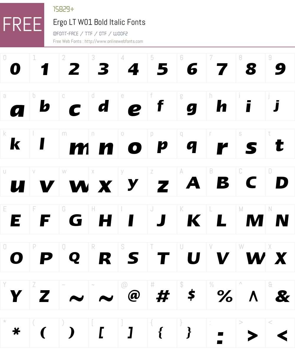 ErgoLTW01-BoldItalic Font Screenshots