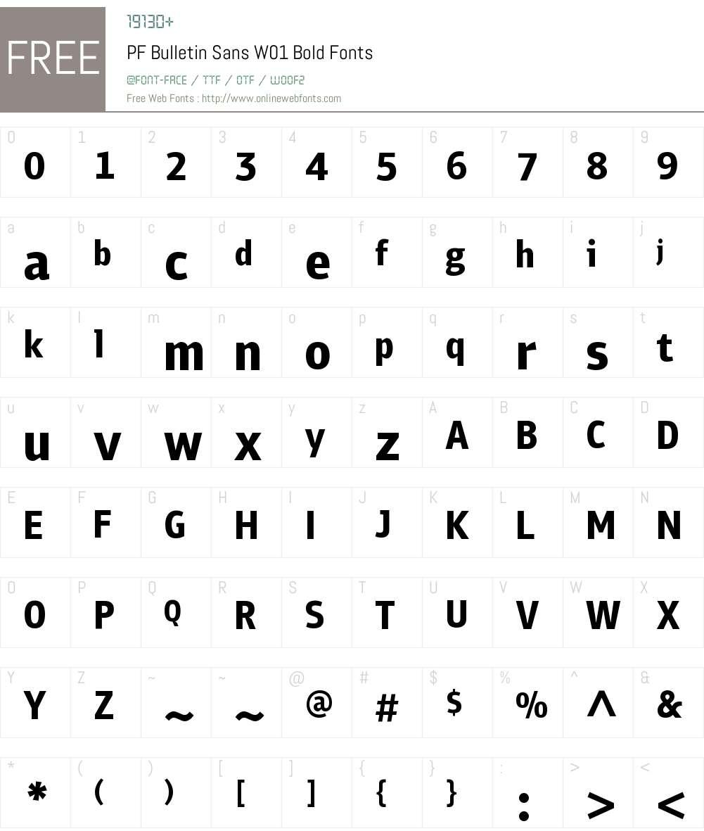 PFBulletinSansW01-Bold Font Screenshots
