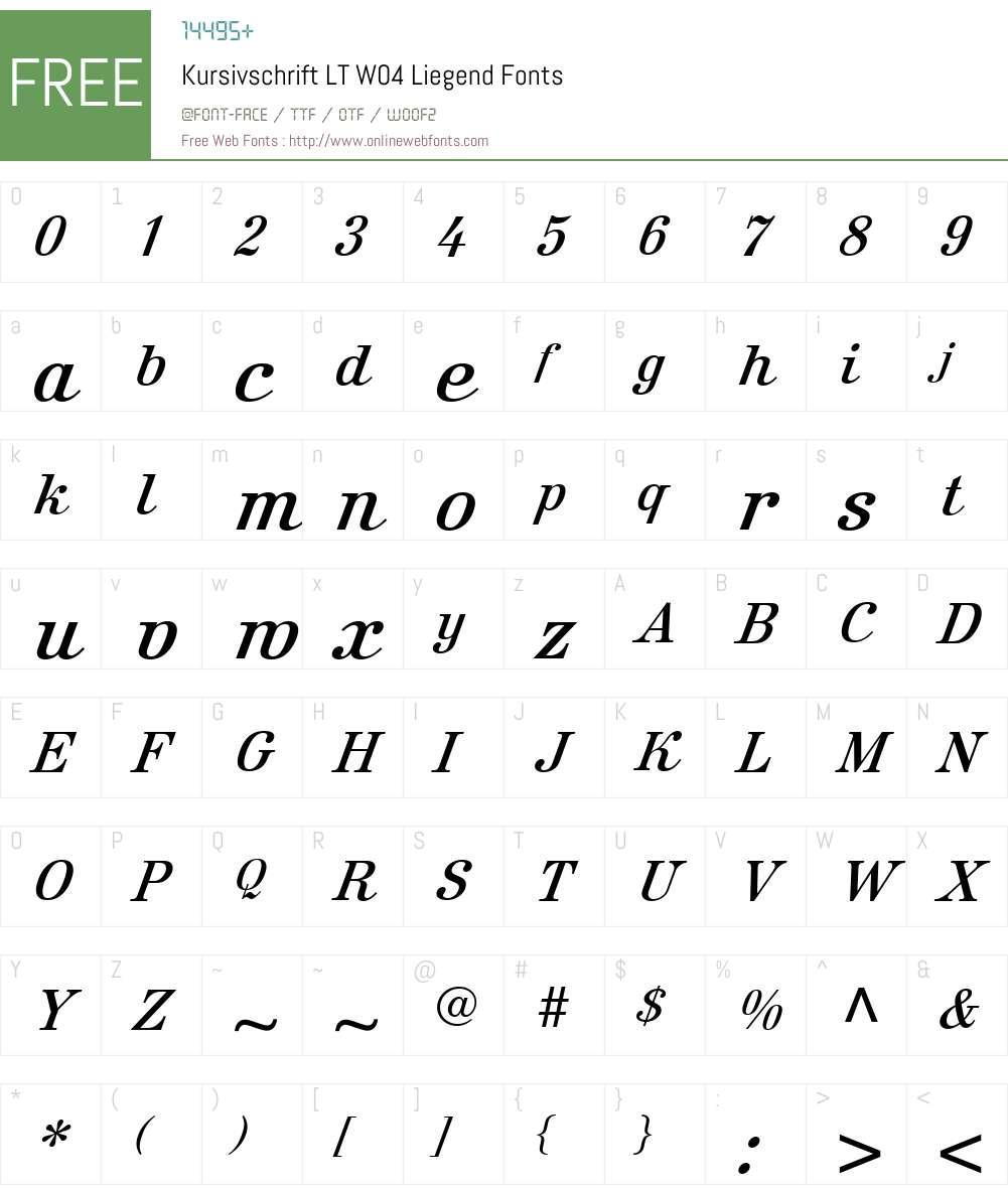 Kursivschrift Font Screenshots