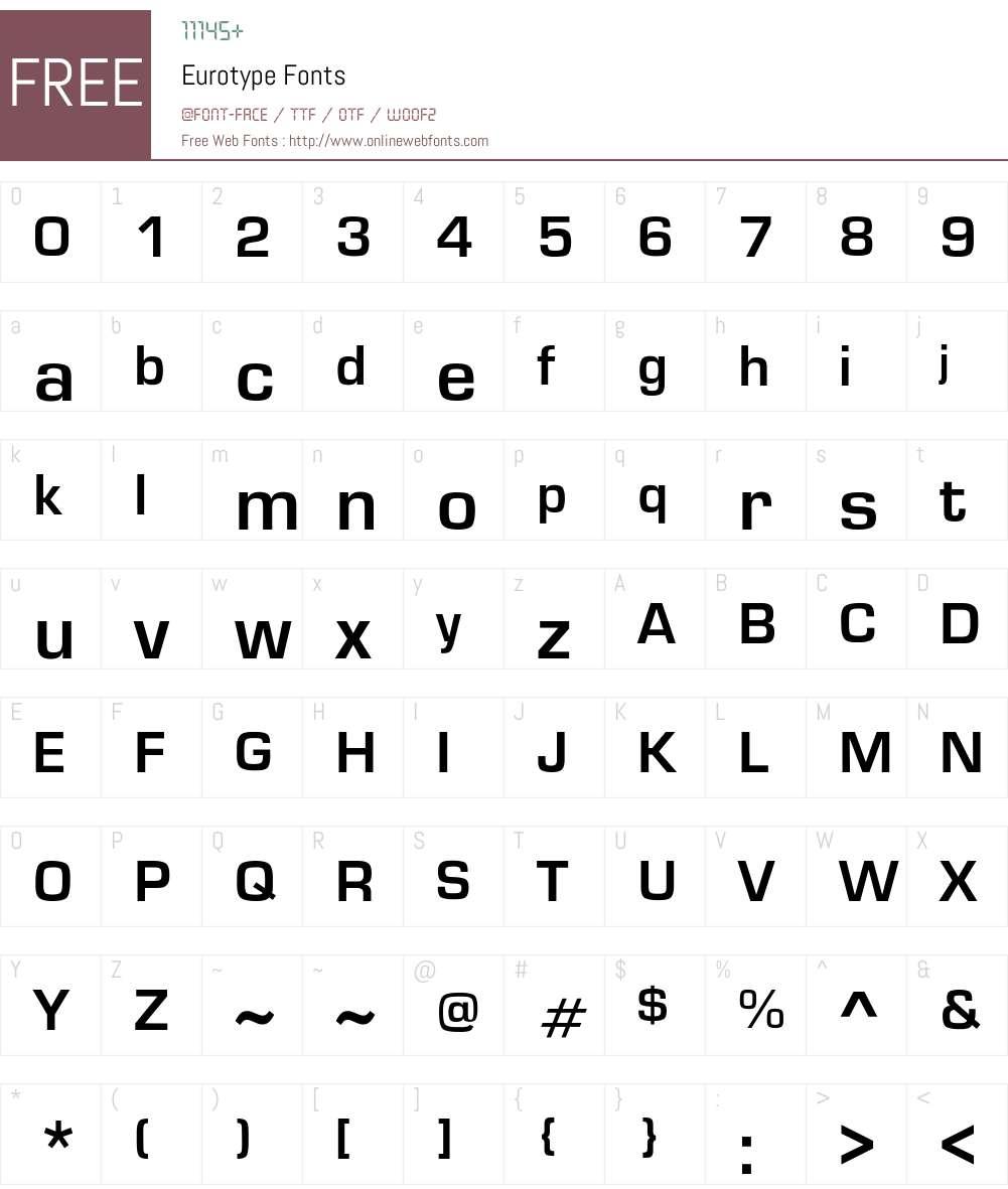 Eurotype Font Screenshots