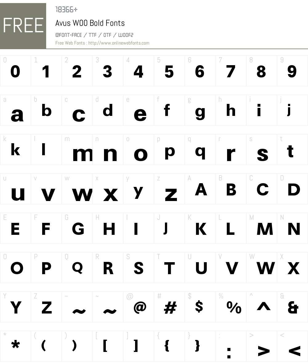 AvusW00-Bold Font Screenshots