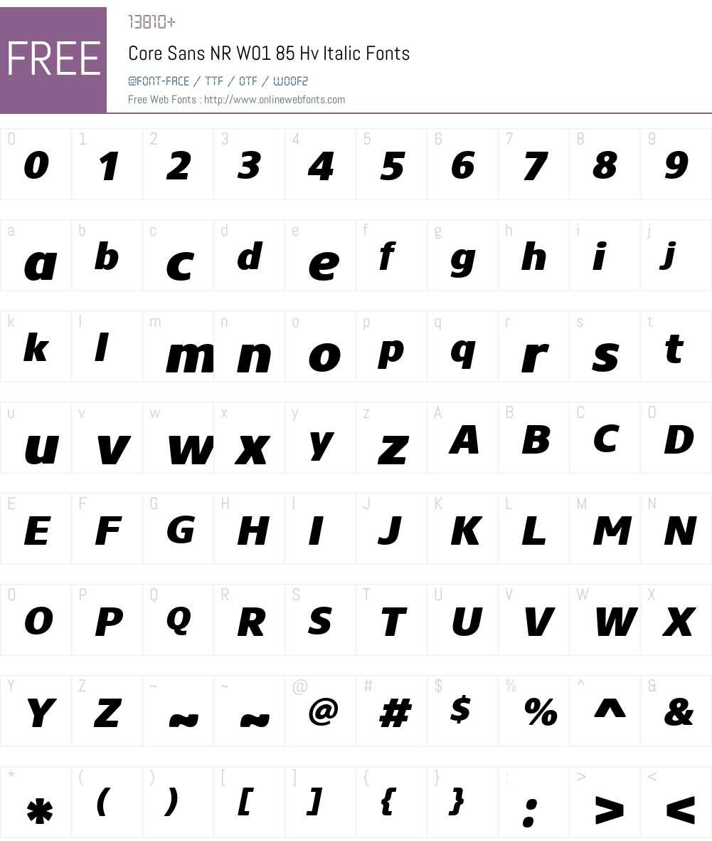 CoreSansNRW01-85HvItalic Font Screenshots