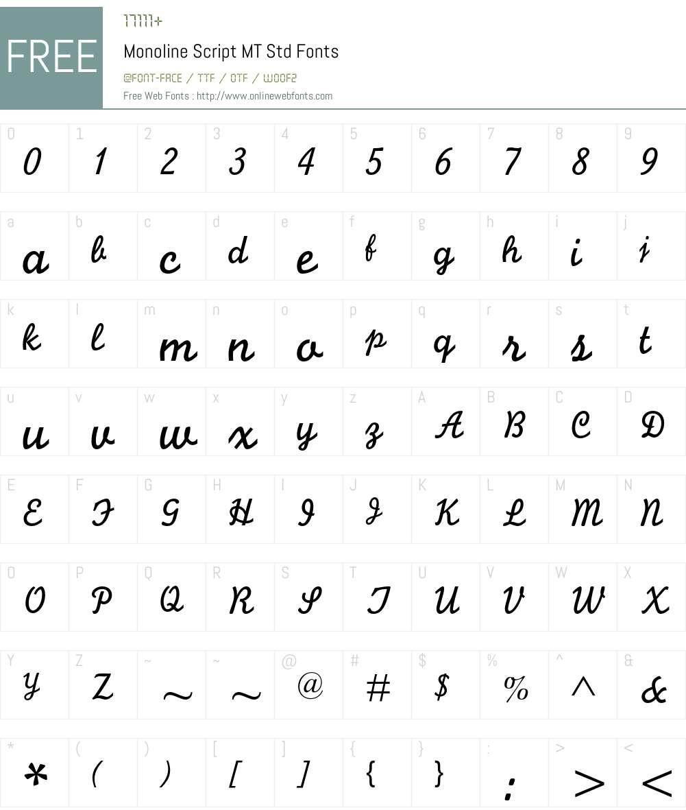 Monoline Script MT Std Font Screenshots