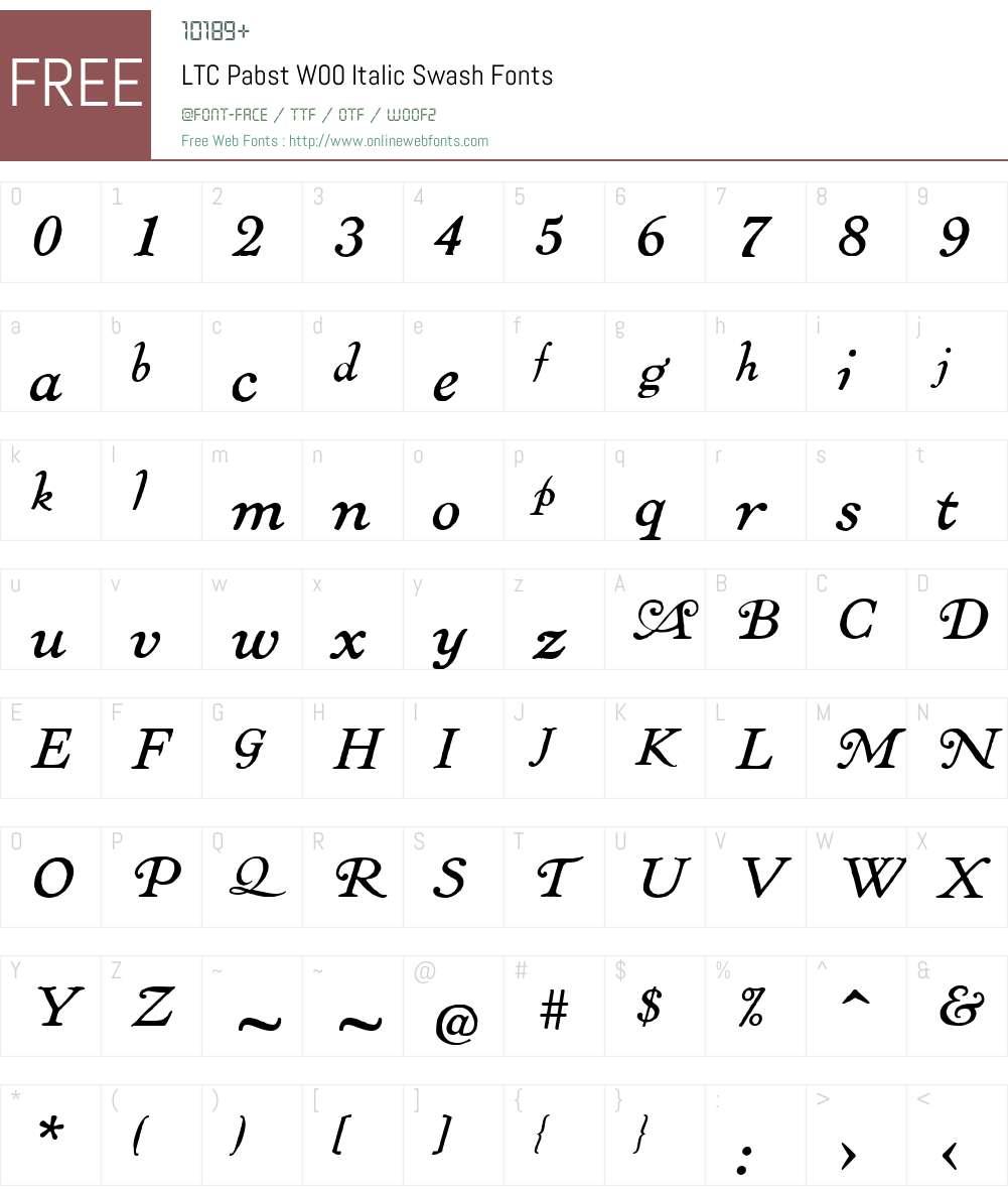 LTCPabstW00-ItalicSwash Font Screenshots