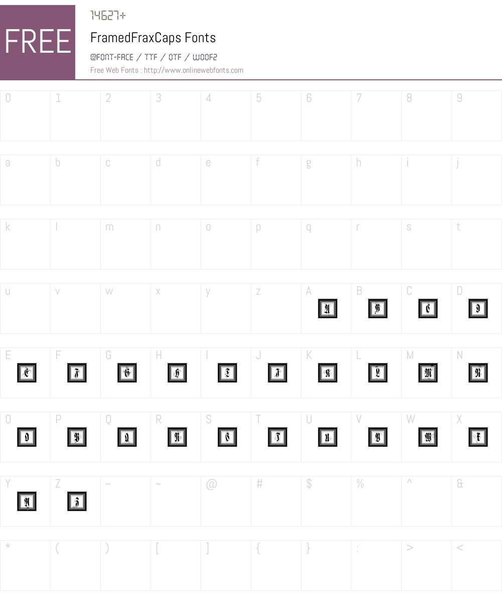 FramedFraxCaps Font Screenshots