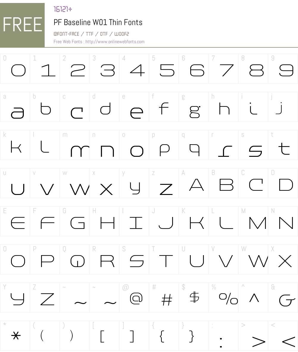 PFBaselineW01-Thin Font Screenshots