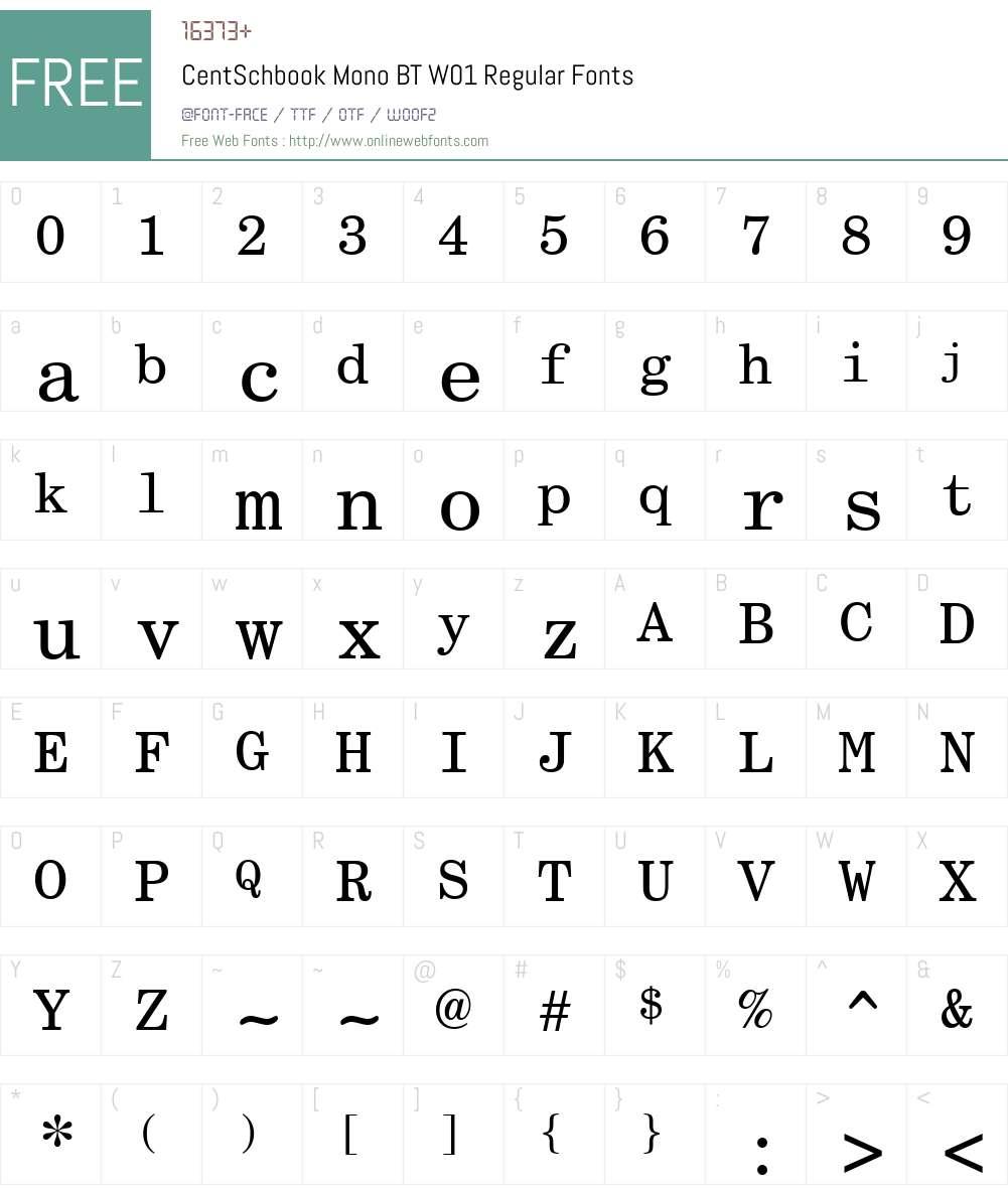 CentSchbookMonoBTW01-Rg Font Screenshots