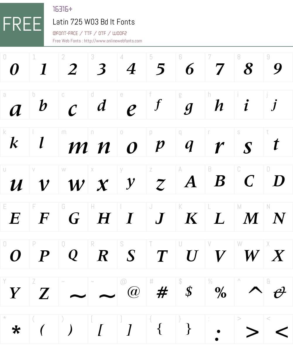 Latin 725 Font Screenshots