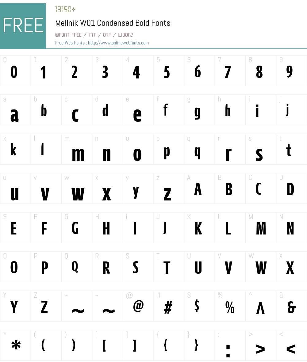 MellnikW01-CondensedBold Font Screenshots