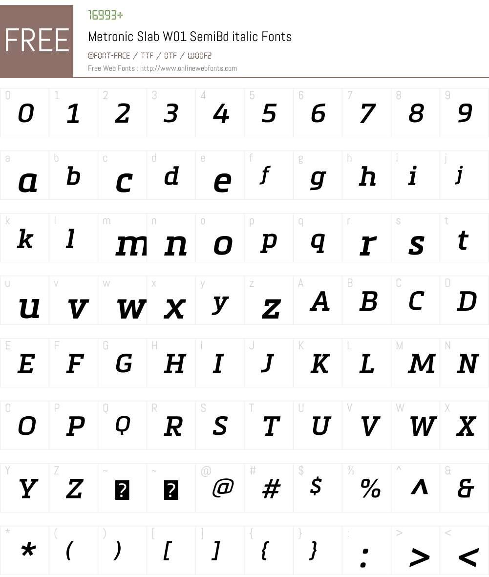 MetronicSlabW01-SmBditalic Font Screenshots