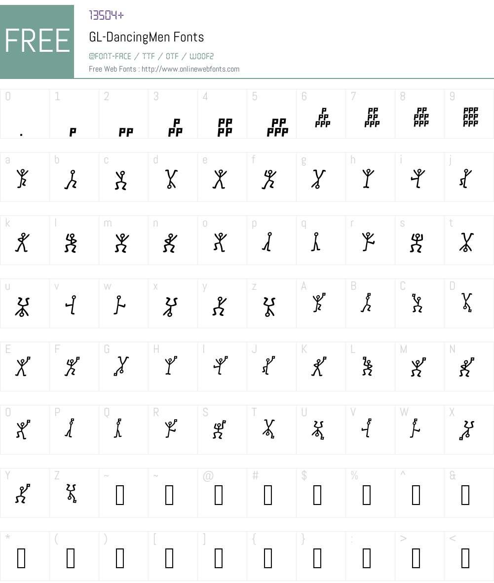 GL-DancingMen Font Screenshots