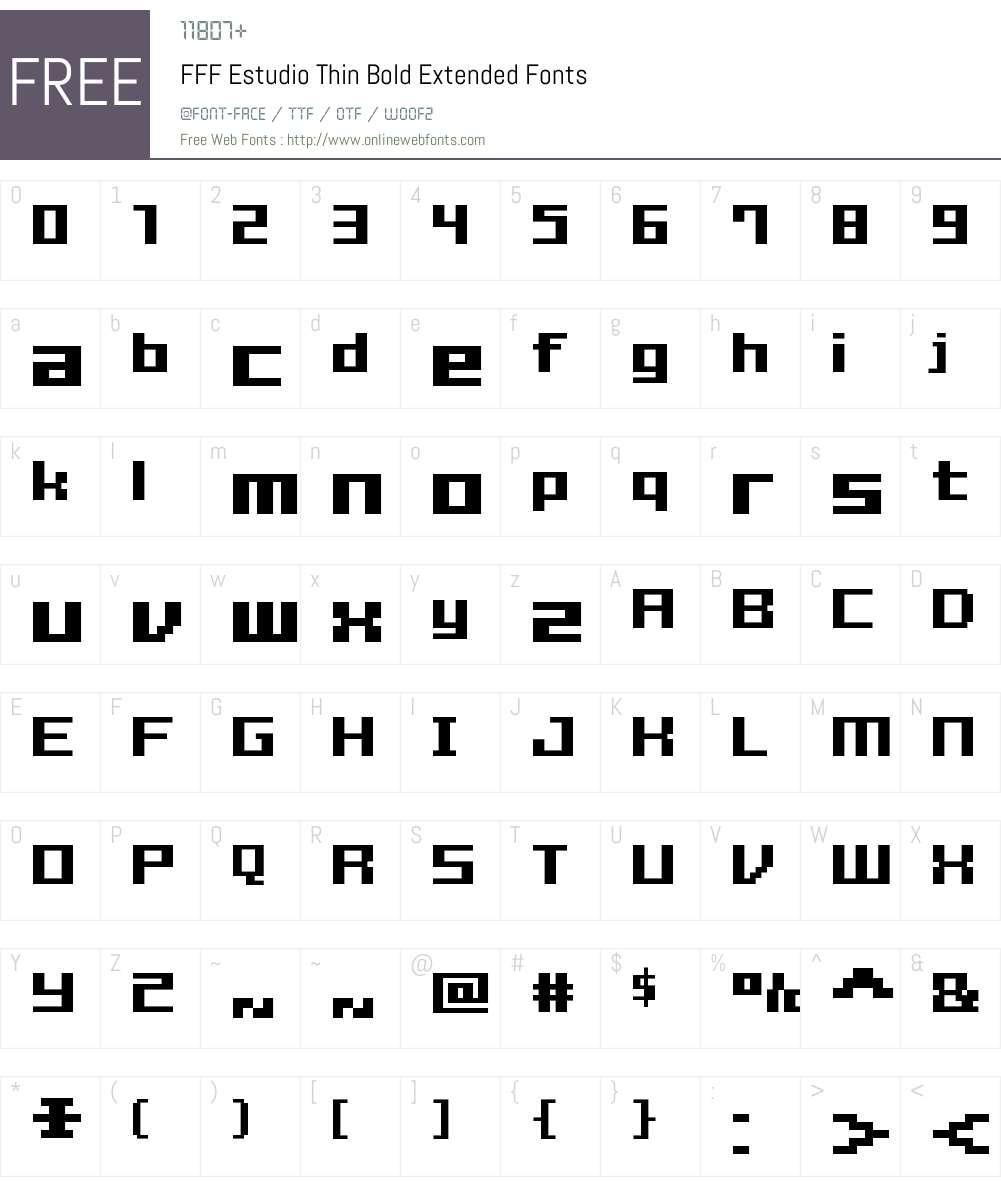 FFF Estudio Thin Bold Extended Font Screenshots