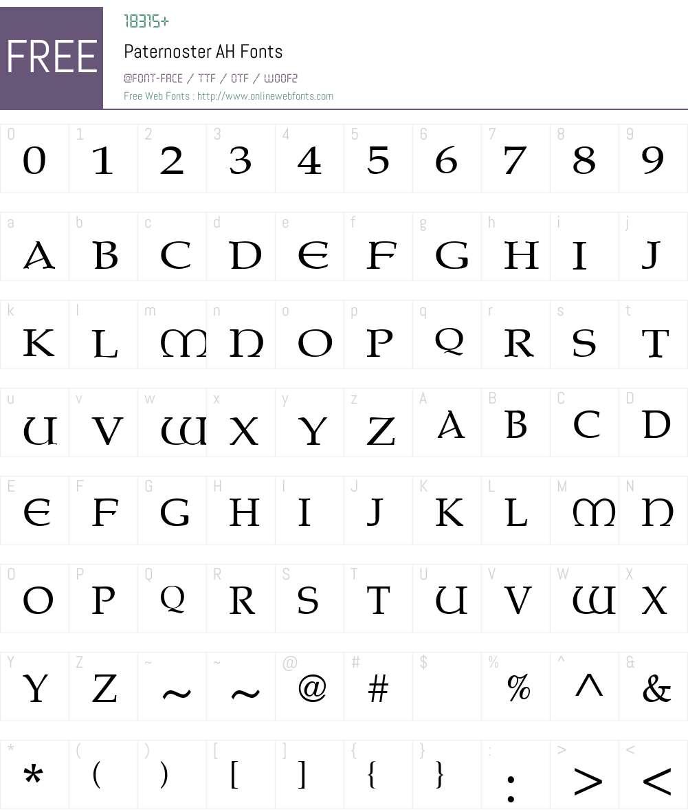Paternoster AH Font Screenshots