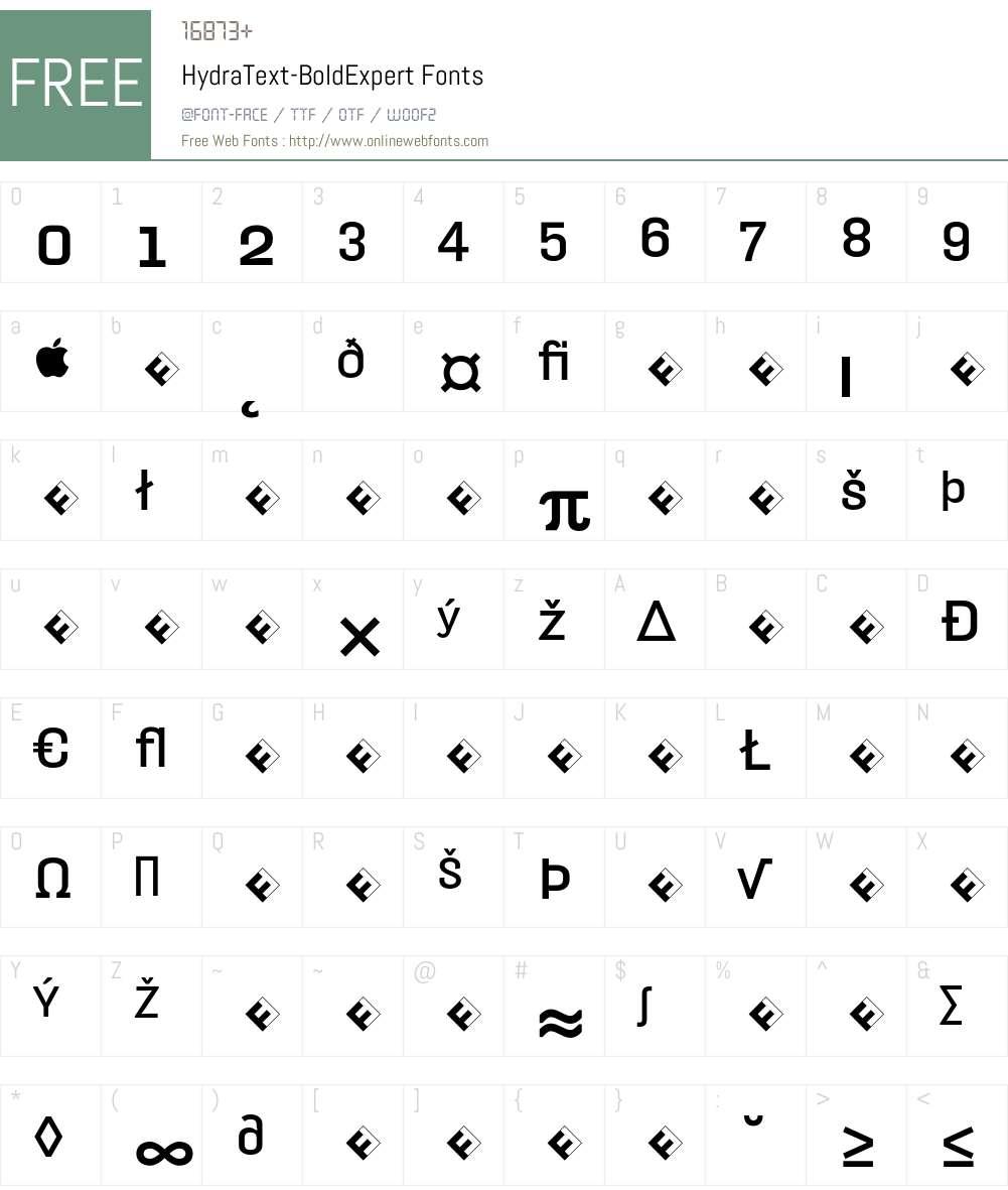 HydraText-BoldExpert Font Screenshots