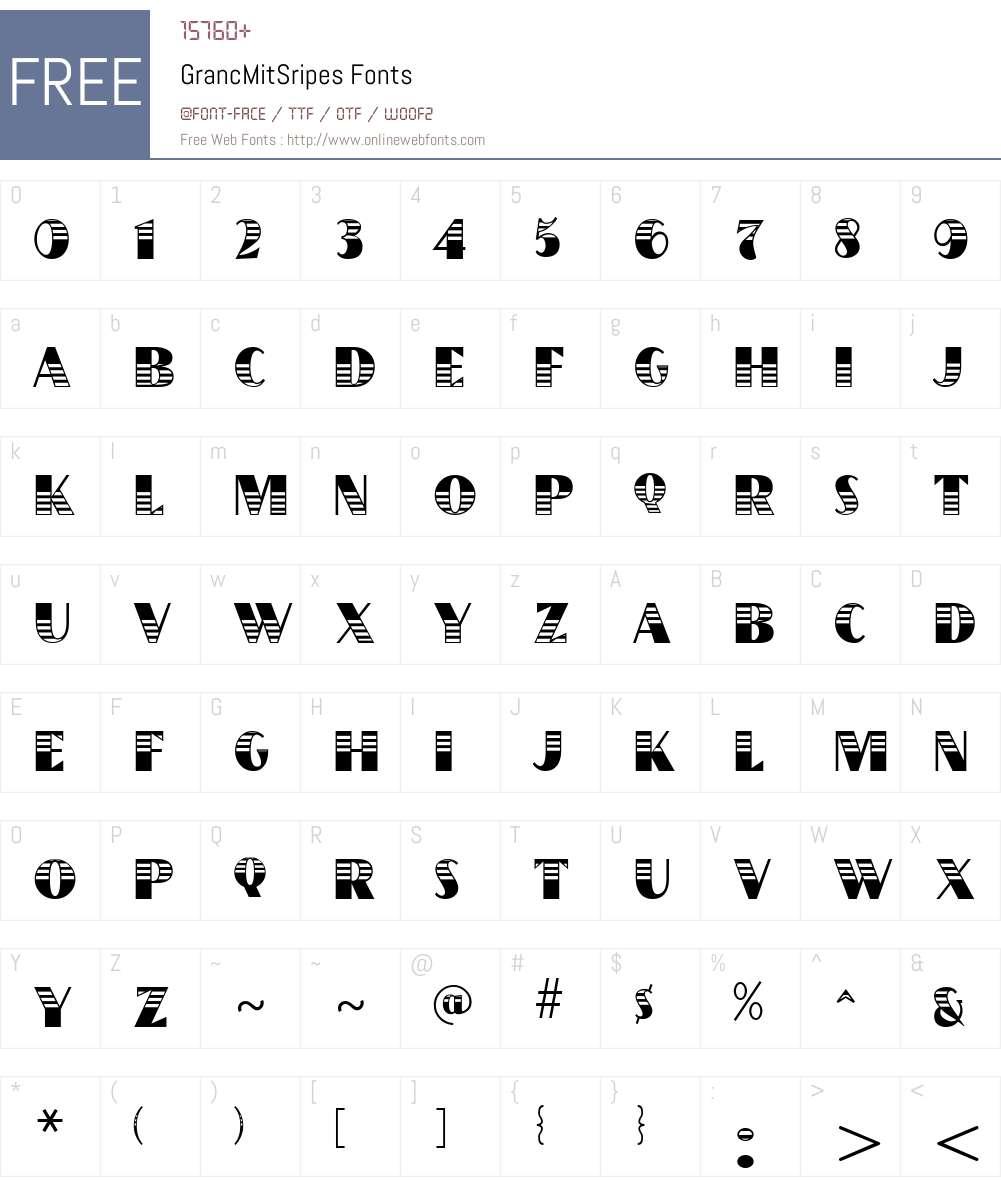 GrancMitSripes Font Screenshots