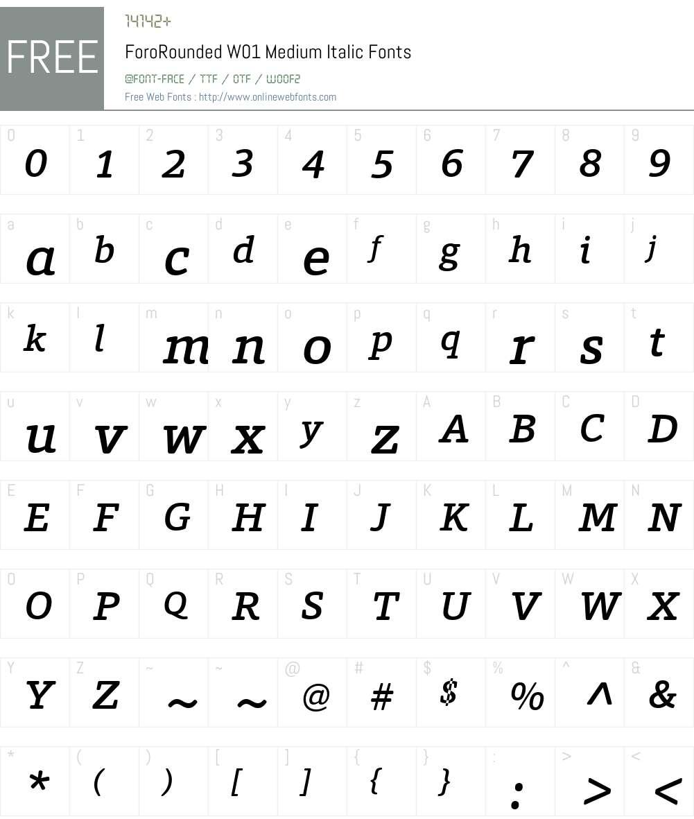 ForoRoundedW01-MediumItalic Font Screenshots