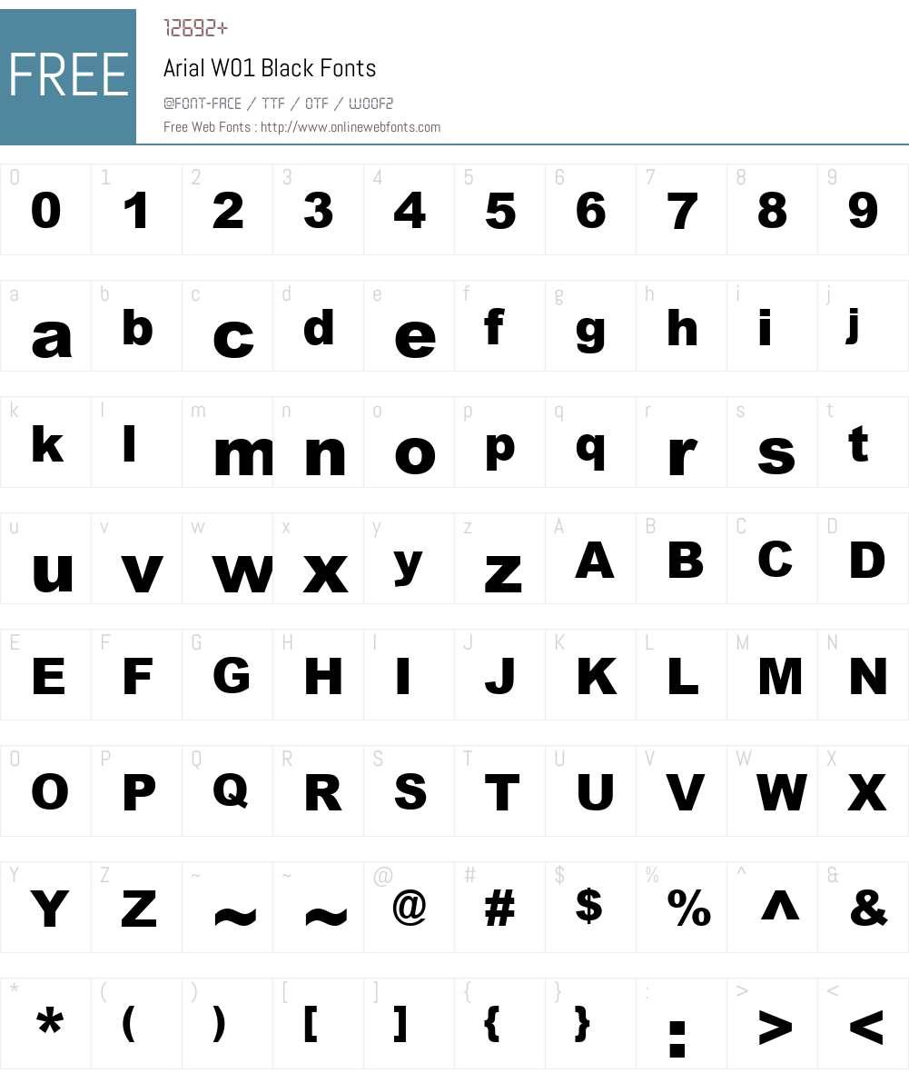 ArialW01-Black Font Screenshots