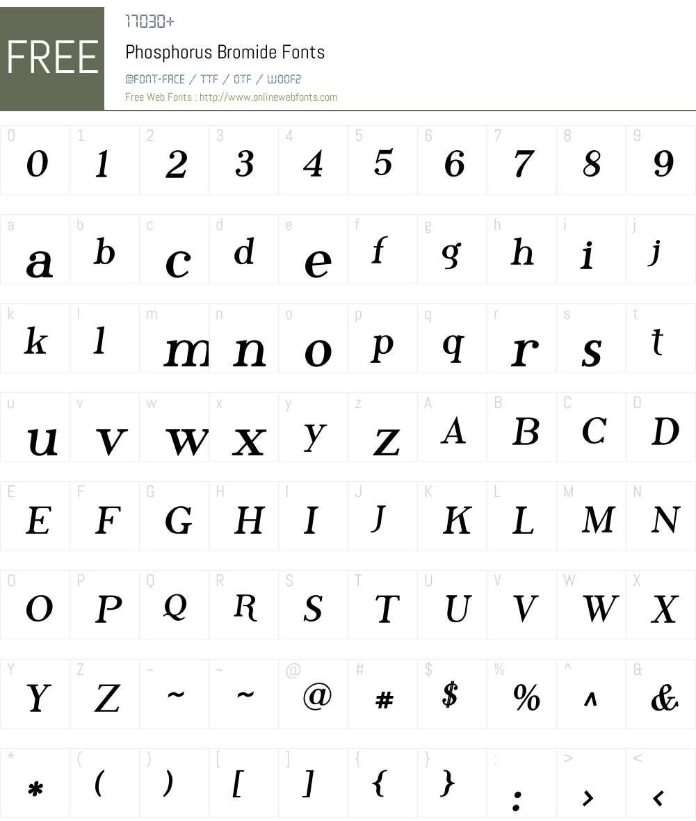 Phosphorus Bromide Font Screenshots