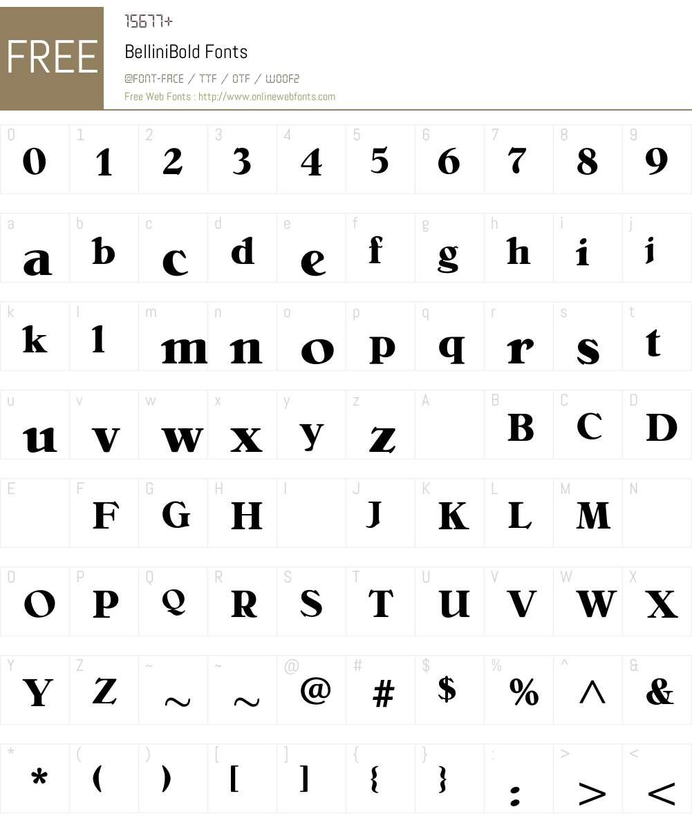 BelliniBold Font Screenshots