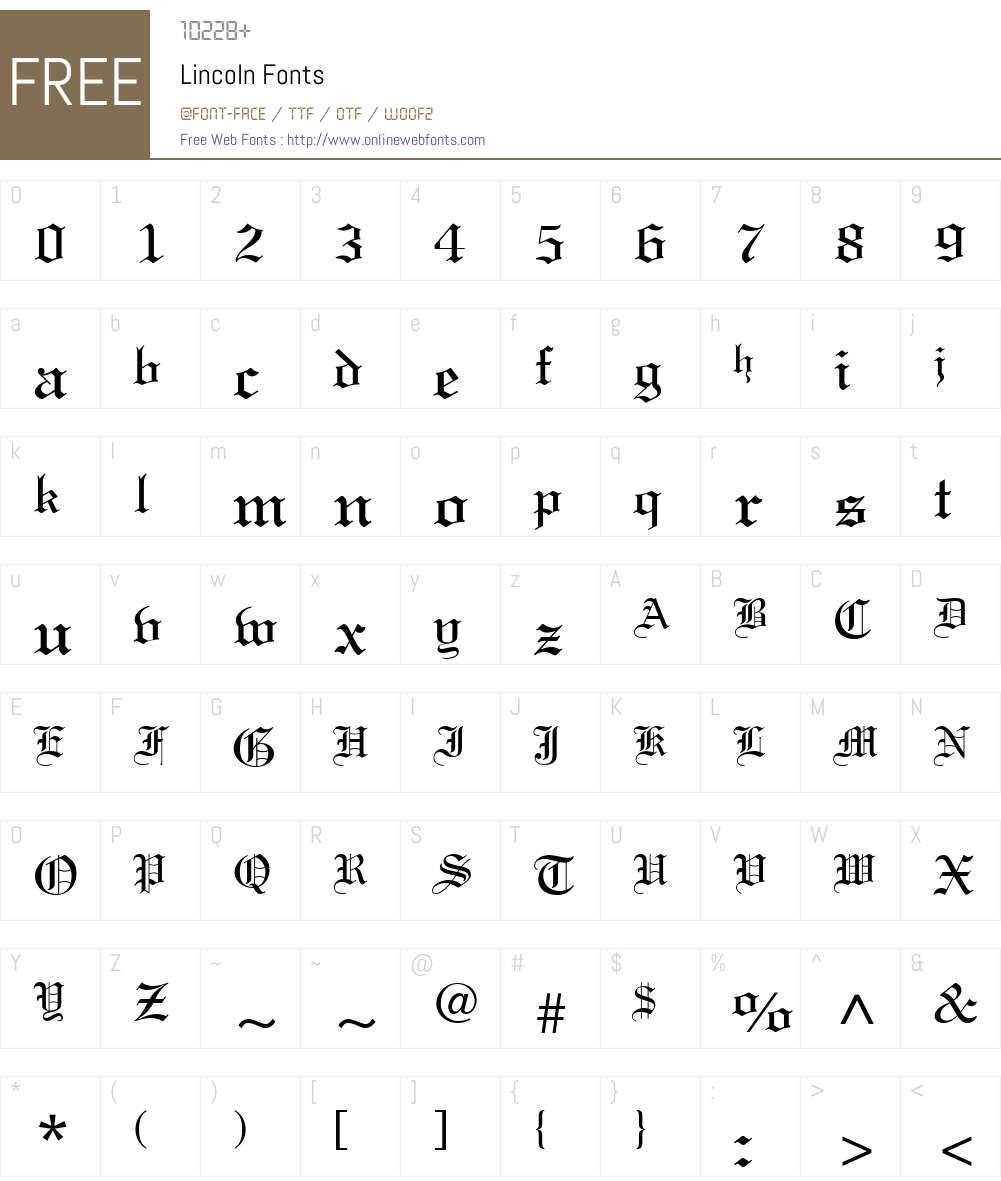 Lincoln Font Screenshots