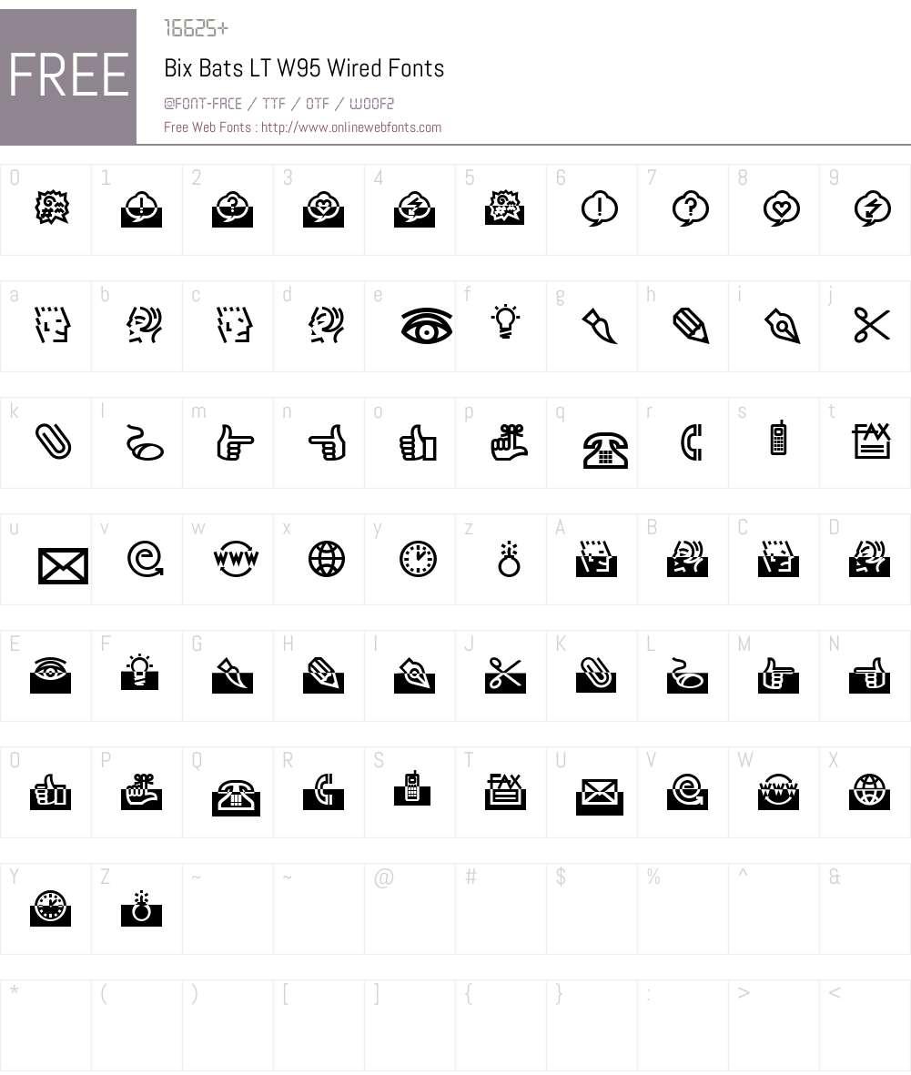 BixBatsLTW95-Wired Font Screenshots