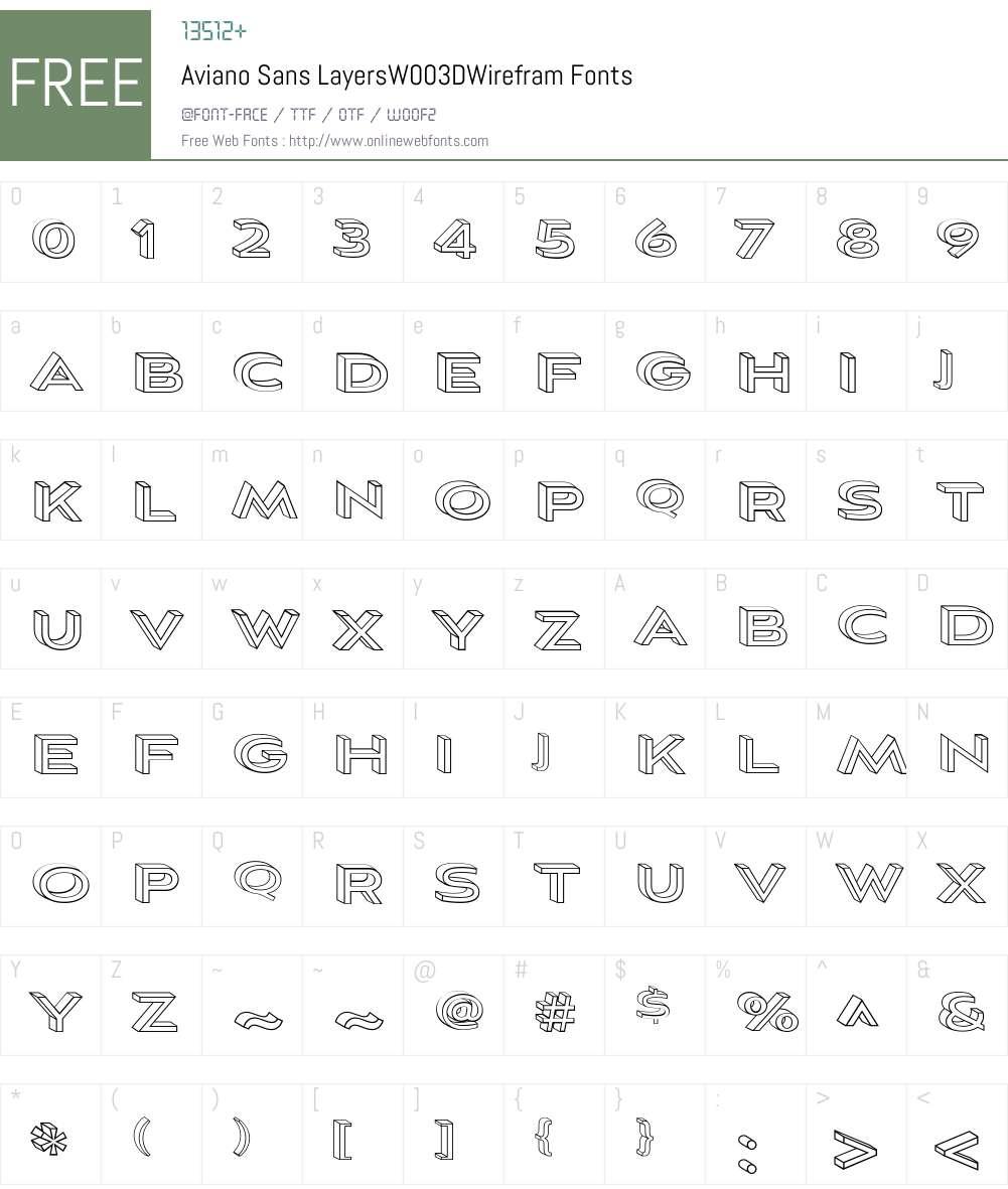 AvianoSansLayersW00-3DWirefram Font Screenshots