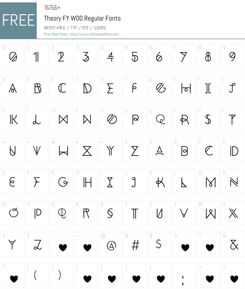TheoryFYW00-Regular Font Screenshots