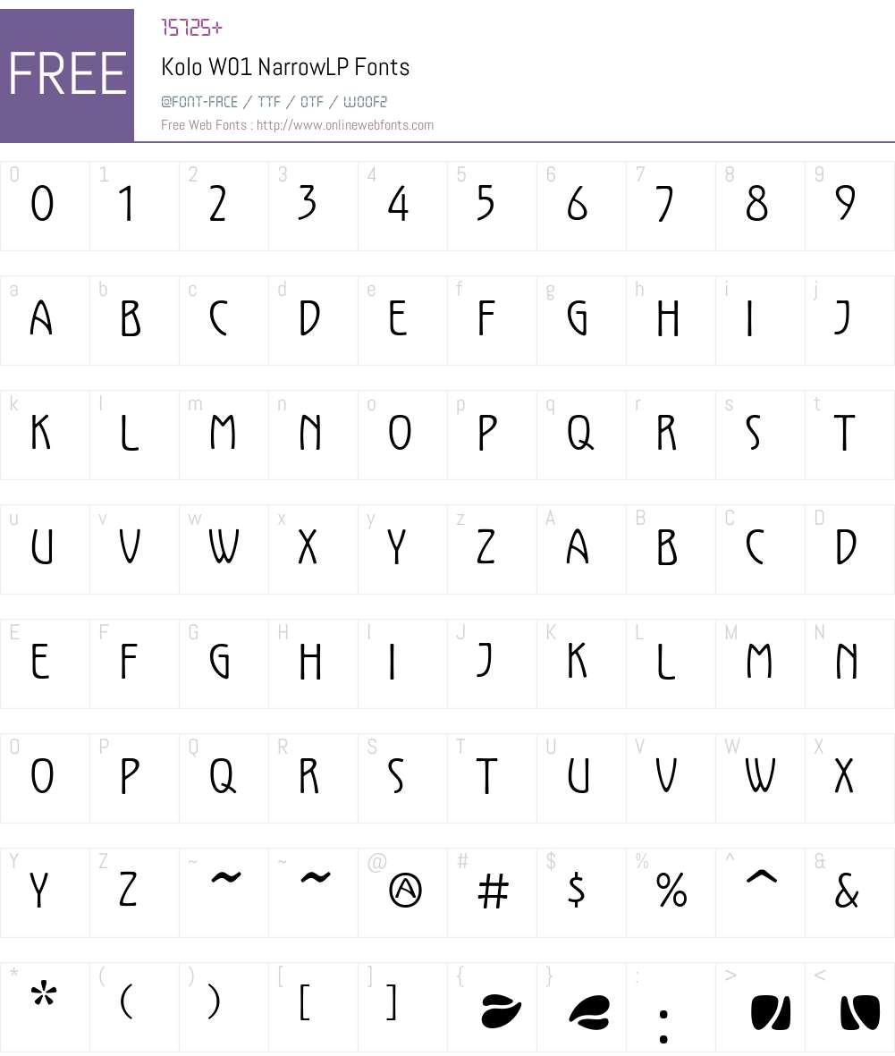KoloW01-NarrowLP Font Screenshots