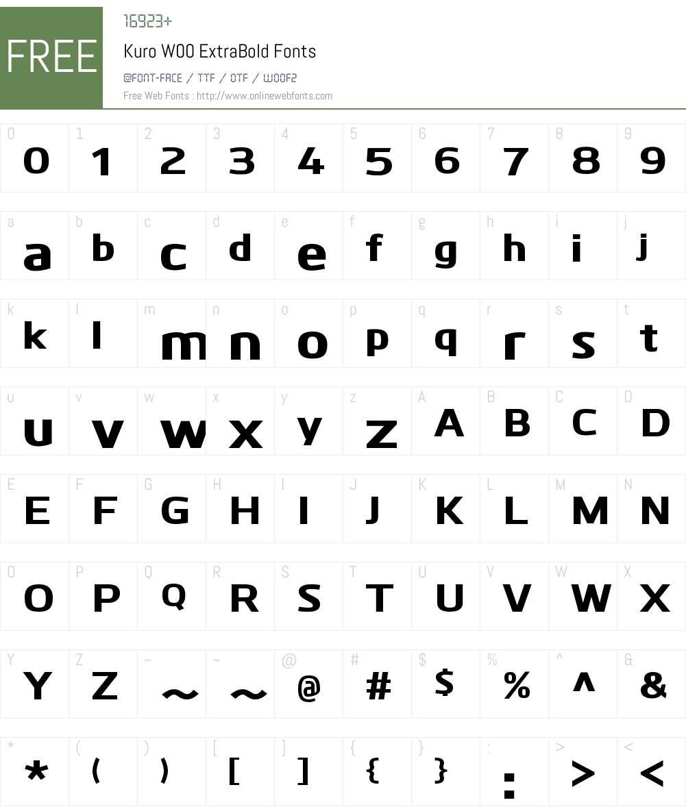 KuroW00-ExtraBold Font Screenshots